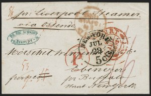 Sale Number 1196, Lot Number 541, Ship Mail from 18001852, Frankfurt, Germany to Ebenezer N.Y, 1852, Frankfurt, Germany to Ebenezer N.Y