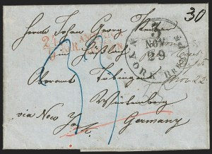 Sale Number 1196, Lot Number 542, Ship Mail from 18001853, New Creek Depot Virginia to Wurttemberg, Germany, 1853, New Creek Depot Virginia to Wurttemberg, Germany
