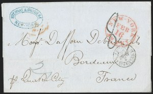 Sale Number 1196, Lot Number 544, Ship Mail from 18001856, New York to Bordeaux, France, 1856, New York to Bordeaux, France