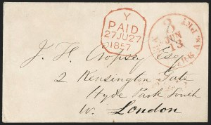 Sale Number 1196, Lot Number 545, Ship Mail from 18001857, New York to London, England, 1857, New York to London, England