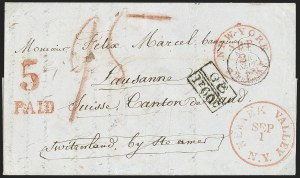 Sale Number 1196, Lot Number 546, Ship Mail from 18001857, Newark Valley N.Y. to Lausanne, Switzerland, 1857, Newark Valley N.Y. to Lausanne, Switzerland