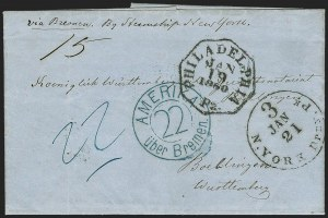 Sale Number 1196, Lot Number 547, Ship Mail from 18001860, Philadelphia to Boeblingen, Wurttemberg, Germany, 1860, Philadelphia to Boeblingen, Wurttemberg, Germany