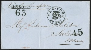 Sale Number 1196, Lot Number 548, Ship Mail from 18001863, Buenos Aires, Argentina to Salem Mass, 1863, Buenos Aires, Argentina to Salem Mass