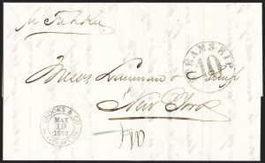 Sale Number 1196, Lot Number 549, Ship Mail from 18001866, Cuba to New York via Bermuda, 1866, Cuba to New York via Bermuda