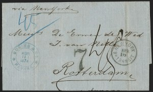 Sale Number 1196, Lot Number 552, Ship Mail from 18001874, Havana, Cuba to Rotterdam via New York, 1874, Havana, Cuba to Rotterdam via New York