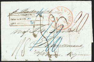 Sale Number 1196, Lot Number 553, Ship Mail from 1800Stampless Transatlantic Covers, 1820s-60s, Stampless Transatlantic Covers, 1820s-60s