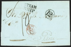 Sale Number 1196, Lot Number 554, Ship Mail from 1800New York Steam Ship Markings on Mail from Cuba, New York Steam Ship Markings on Mail from Cuba