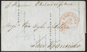 Sale Number 1196, Lot Number 571, California MailsNew-York 40cts. 28 Sep. Paid (1850), New-York 40cts. 28 Sep. Paid (1850)
