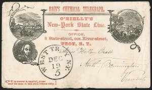 Sale Number 1196, Lot Number 577, Railroads & TelegraphsBain's Chemical Telegraph. O'Rielly's New-York State Line (New York Merchant's State Telegraph Co, Bain's Chemical Telegraph. O'Rielly's New-York State Line (New York Merchant's State Telegraph Co