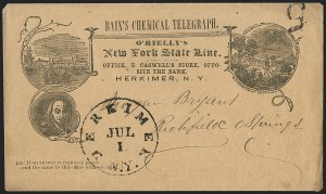 Sale Number 1196, Lot Number 578, Railroads & TelegraphsBain's Chemical Telegraph. O'Rielly's New-York State Line (New York Merchant's State Telegraph Co, Bain's Chemical Telegraph. O'Rielly's New-York State Line (New York Merchant's State Telegraph Co