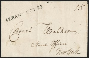 Sale Number 1196, Lot Number 584, New York Stampless Postal Markings (A thru H Towns)Albany N.Y., 1794, Albany N.Y., 1794