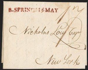 Sale Number 1196, Lot Number 589, New York Stampless Postal Markings (A thru H Towns)B. SPRINGS 16 MAY (1804), B. SPRINGS 16 MAY (1804)