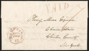 Sale Number 1196, Lot Number 590, New York Stampless Postal Markings (A thru H Towns)Ballston N.Y. July 22 (1813), Ballston N.Y. July 22 (1813)