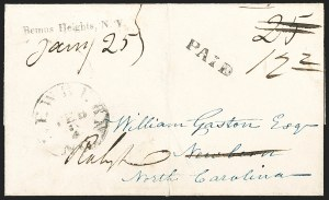 Sale Number 1196, Lot Number 592, New York Stampless Postal Markings (A thru H Towns)Bemus Heights, N.Y. Jany. 25 (1843), Bemus Heights, N.Y. Jany. 25 (1843)