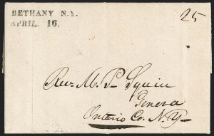 Sale Number 1196, Lot Number 594, New York Stampless Postal Markings (A thru H Towns)BETHANY N.Y./APRIL 16 (1831), BETHANY N.Y./APRIL 16 (1831)