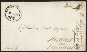 Sale Number 1196, Lot Number 600, New York Stampless Postal Markings (A thru H Towns)Canandaigua, May 30 (1804), Canandaigua, May 30 (1804)