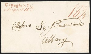 Sale Number 1196, Lot Number 601, New York Stampless Postal Markings (A thru H Towns)Cayuga. NY. (1829), Cayuga. NY. (1829)