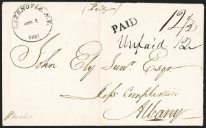Sale Number 1196, Lot Number 602, New York Stampless Postal Markings (A thru H Towns)Cazenovia, N.Y. Aug. 3, 1821, Cazenovia, N.Y. Aug. 3, 1821
