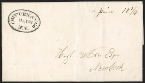 Sale Number 1196, Lot Number 603, New York Stampless Postal Markings (A thru H Towns)Chittenango N.Y. May 22 (1830), Chittenango N.Y. May 22 (1830)