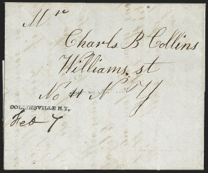 Sale Number 1196, Lot Number 605, New York Stampless Postal Markings (A thru H Towns)COLLINSVILLE N.Y. Feb. 7 (1849), COLLINSVILLE N.Y. Feb. 7 (1849)