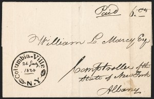 Sale Number 1196, Lot Number 606, New York Stampless Postal Markings (A thru H Towns)Columbia-Ville N.Y. 26 July 1828, Columbia-Ville N.Y. 26 July 1828