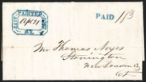 Sale Number 1196, Lot Number 609, New York Stampless Postal Markings (A thru H Towns)East Painted Post N.Y. Apl. 21 (1845), East Painted Post N.Y. Apl. 21 (1845)