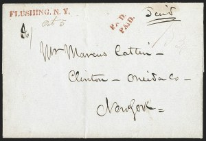 Sale Number 1196, Lot Number 612, New York Stampless Postal Markings (A thru H Towns)FLUSHING. N.Y, FLUSHING. N.Y