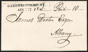 Sale Number 1196, Lot Number 615, New York Stampless Postal Markings (A thru H Towns)GARDNERSVILLE. N.Y./ AUGUST 18th (1830), GARDNERSVILLE. N.Y./ AUGUST 18th (1830)