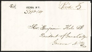 Sale Number 1196, Lot Number 616, New York Stampless Postal Markings (A thru H Towns)GENOA N Y. Sept. 14 (1849), GENOA N Y. Sept. 14 (1849)