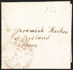 Sale Number 1196, Lot Number 617, New York Stampless Postal Markings (A thru H Towns)Gloversville N.Y. Jul. 21 Paid 3 -- For Stamps Address P.M. Pleasant Grove, Md, Gloversville N.Y. Jul. 21 Paid 3 -- For Stamps Address P.M. Pleasant Grove, Md