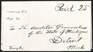 Sale Number 1196, Lot Number 618, New York Stampless Postal Markings (A thru H Towns)Gouverneur, N.Y./Jany. 11 (1840), Gouverneur, N.Y./Jany. 11 (1840)