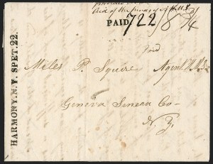 Sale Number 1196, Lot Number 619, New York Stampless Postal Markings (A thru H Towns)HARMONY. N.Y. SPET. 22 (1830), HARMONY. N.Y. SPET. 22 (1830)