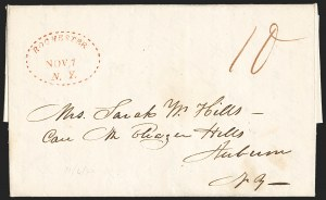 Sale Number 1196, Lot Number 651, New York Stampless Postal Markings (U thru Y Towns, balances)Rochester N.Y. 1822-28, Rochester N.Y. 1822-28