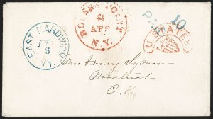 "Sale Number 1196, Lot Number 652, New York Stampless Postal Markings (U thru Y Towns, balances)""U. STATES"" Shield Handstamp (Rouses Point N.Y.), ""U. STATES"" Shield Handstamp (Rouses Point N.Y.)"