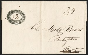 Sale Number 1196, Lot Number 653, New York Stampless Postal Markings (U thru Y Towns, balances)Sacket's Harbor May 12 (1815), Sacket's Harbor May 12 (1815)