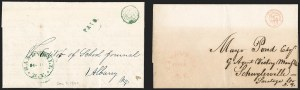 Sale Number 1196, Lot Number 654, New York Stampless Postal Markings (U thru Y Towns, balances)Sandy Hill N.Y. Half-Dime Rate Handstamp, Sandy Hill N.Y. Half-Dime Rate Handstamp
