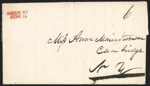 Sale Number 1196, Lot Number 657, New York Stampless Postal Markings (U thru Y Towns, balances)SALEM NY, JUNE 15, SALEM NY, JUNE 15