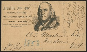 Sale Number 1196, Lot Number 658, New York Stampless Postal Markings (U thru Y Towns, balances)Saratoga Springs N.Y. 1823-53, Saratoga Springs N.Y. 1823-53