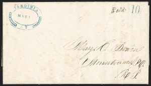 Sale Number 1196, Lot Number 659, New York Stampless Postal Markings (U thru Y Towns, balances)Sardinia N.Y, Sardinia N.Y