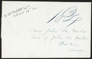 Sale Number 1196, Lot Number 661, New York Stampless Postal Markings (U thru Y Towns, balances)Schuylerville N.Y. 1841-43, Schuylerville N.Y. 1841-43
