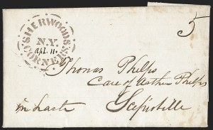 Sale Number 1196, Lot Number 662, New York Stampless Postal Markings (U thru Y Towns, balances)Sherwoods Corners N.Y. Apl. 11 (1846), Sherwoods Corners N.Y. Apl. 11 (1846)