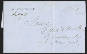 Sale Number 1196, Lot Number 663, New York Stampless Postal Markings (U thru Y Towns, balances)SLOATSBURG. N-Y. July 4 (1854), SLOATSBURG. N-Y. July 4 (1854)