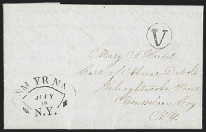 Sale Number 1196, Lot Number 664, New York Stampless Postal Markings (U thru Y Towns, balances)Smyrna N.Y. July 18 (1849), Smyrna N.Y. July 18 (1849)