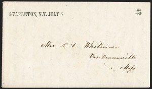 Sale Number 1196, Lot Number 665, New York Stampless Postal Markings (U thru Y Towns, balances)STAPLETON. N.Y, STAPLETON. N.Y