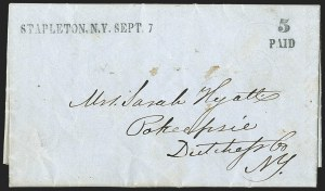 Sale Number 1196, Lot Number 667, New York Stampless Postal Markings (U thru Y Towns, balances)STAPLETON N.Y. SEPT 7 (1847), STAPLETON N.Y. SEPT 7 (1847)