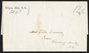 Sale Number 1196, Lot Number 669, New York Stampless Postal Markings (U thru Y Towns, balances)Tripes Hill, N.Y. Feb. 4th (1842), Tripes Hill, N.Y. Feb. 4th (1842)