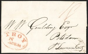 Sale Number 1196, Lot Number 670, New York Stampless Postal Markings (U thru Y Towns, balances)Troy N.Y. 1823-53, Troy N.Y. 1823-53