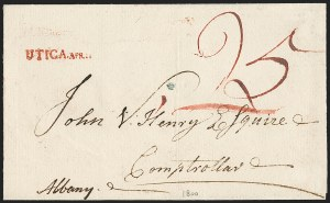 Sale Number 1196, Lot Number 671, New York Stampless Postal Markings (U thru Y Towns, balances)UTICA. APR. 11 (1800), UTICA. APR. 11 (1800)