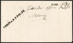 Sale Number 1196, Lot Number 673, New York Stampless Postal Markings (U thru Y Towns, balances)VERONA. N.Y. DEC. 24 (1829), VERONA. N.Y. DEC. 24 (1829)