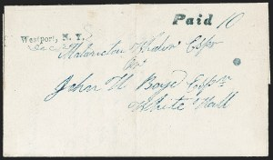 Sale Number 1196, Lot Number 675, New York Stampless Postal Markings (U thru Y Towns, balances)Westport N.Y. Straightlines, Westport N.Y. Straightlines